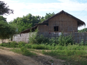 Bamboo house with bamboo fence, Myanmar (Burma)