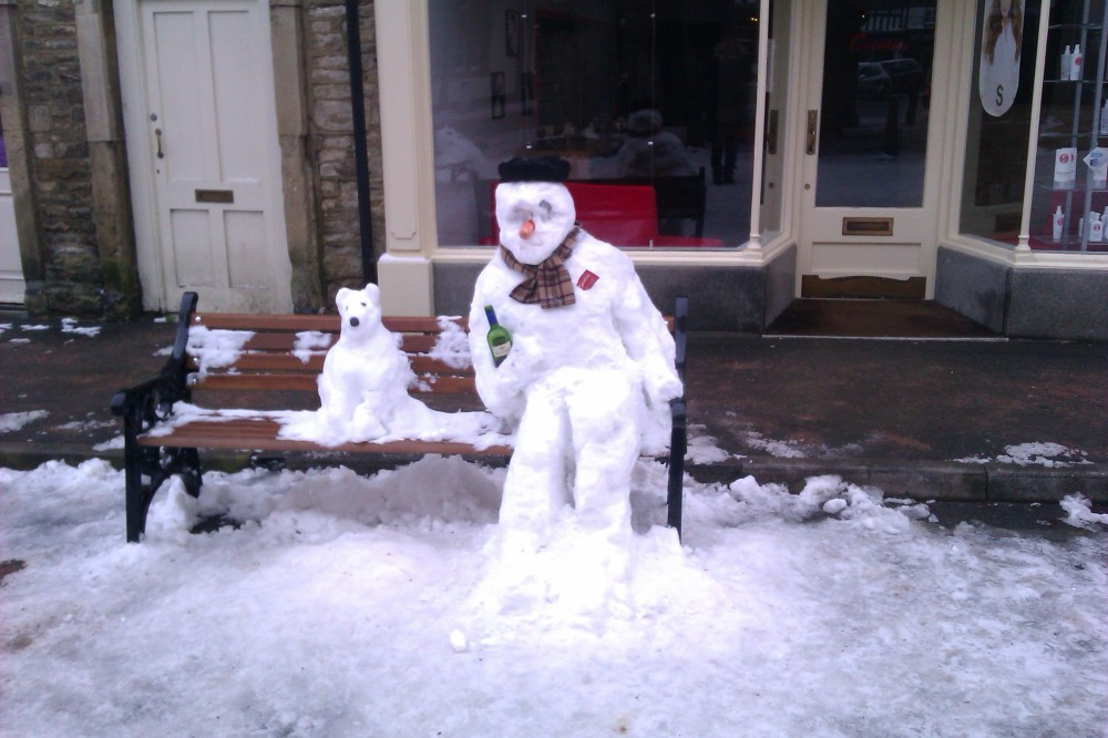 snow man & dog