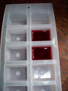Elderberry juice ice cubes