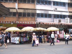 typical shopping street in Banglampu, Bangkok