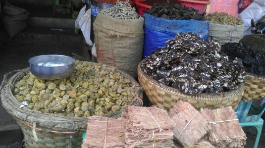 dried herbs at market in Myanmar